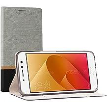 "Funda Asus Zenfone 4 Selfie ZD553KL (5.5""),SunFay Cartera Carcasa Flip Folio Caja Piel PU Suave Super Delgado Estilo Libro,Soporte Plegable para Asus Zenfone 4 Selfie ZD553KL (5.5"") - Gris"