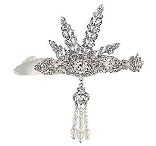 Babeyond Damen Stirnband Silber Great Gatsby Haar Accessoires Braut Tiara Hochzeit Haarschmuck Stirnband Damen Kostüm Accessoires