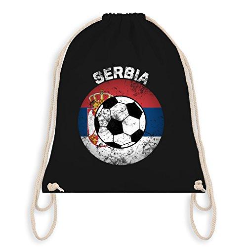 Fußball-Weltmeisterschaft 2018 - Serbia Fußball Vintage - Unisize - Schwarz - WM110 - Turnbeutel &...