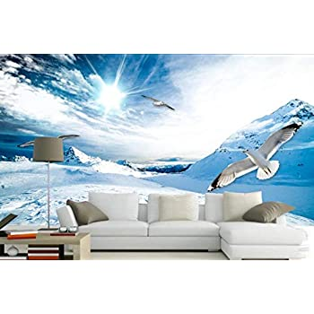 Wemall Papier peint photo 3D Paysage de montagnes enneig/ées Papier peint personnalis/é pour papier peint pour murs de chambre /à coucher 400x280 cm