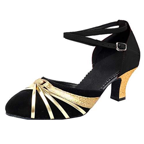 Dorical Damen Latin Schuhe/Patchwork Tanzschuhe/Mode Trainings Schnalle Hoher Absatz Schuhe/Walzer...
