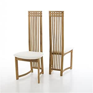 pair dining chairs white fabric on oak colosseum amazon