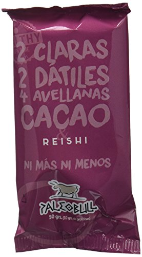 Barrita Energética Paleo 100% natural - Alta en proteínas - Avellanas, Cacao y Reishi (50g) - Pack Ahorro de 15 Barritas