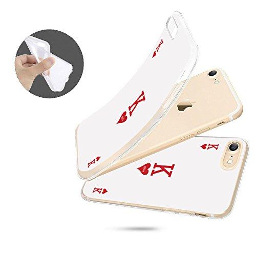 finoo   iPhone 8 Plus Weiche flexible Silikon-Handy-Hülle   Transparente TPU Cover Schale mit Motiv   Tasche Case Etui mit Ultra Slim Rundum-schutz   Princess white King Karte