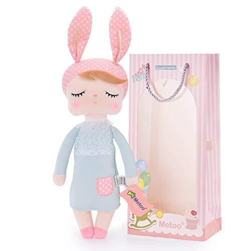 Metoo Gefüllte Hase Plüsch Kaninchen Puppen - Angela Baby Schlafen Puppe Graues Kleid mit Geschenktüte (12 Zoll) - Mädchen Geschenke Spielzeug ()