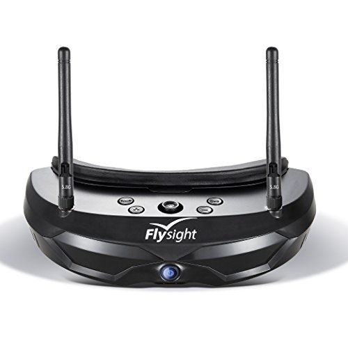 Flysight FPV Brille 5.8G Dual Antenna FPV Goggles 854x480 40CH Video Headset mit 1500mAh Battery für RC Drohne (RP-SMA)
