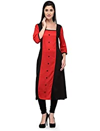 Patrorna Square Neck Black And Majestic Red Cotton Silk Kurti For Women And Girls