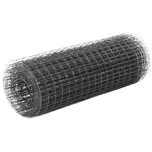 Festnight Maschendraht Gitterzaun Stahl mit PVC-Beschichtung Drahtgeflecht Gartenzaun 10 x 0,5 m Quadrat-Maschen Maschenweite 12 x 12 mm Grau X 10 Quadrat