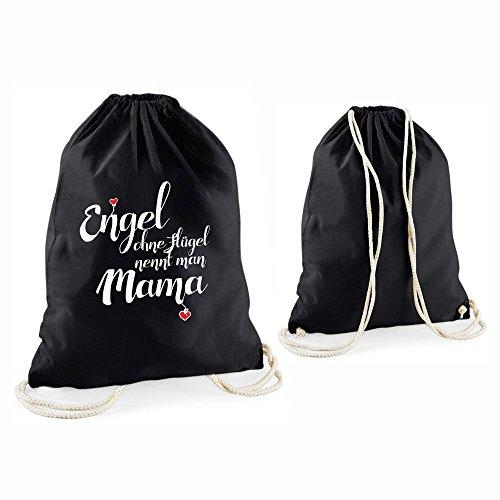 """Statement-Turnbeutel """"Engel ohne Flügel nennt man Mama"""" Rucksack Beutel aus Baumwolle Tragetasche Sportrucksack Tasche Turnbeutel Geschenk für sie Frauen Muttertag Geschenkidee Geburtstag (schwarz) schwarz"""