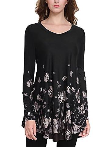 BAISHENGGT - Femme T-Shirt Manches longues Top Imprime Tunique decontracte Noir fleur L