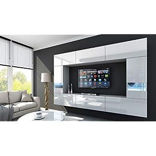 HomeDirectLTD Future 29 Moderne Wohnwand, Exklusive Mediamöbel, TV-Schrank, Schrankwand, TV-Element Anbauwand, Neue Garnitur, Große Farbauswahl (RGB LED-Beleuchtung Verfügbar) (29_HG_W_2, Weiß LED)
