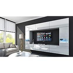 HomeDirectLTD Future 29 Moderne Wohnwand, Exklusive Mediamöbel, TV-Schrank, Schrankwand, TV-Element Anbauwand, Garnitur, Große Farbauswahl (RGB LED-Beleuchtung Verfügbar) (29_HG_W_2, Möbel)