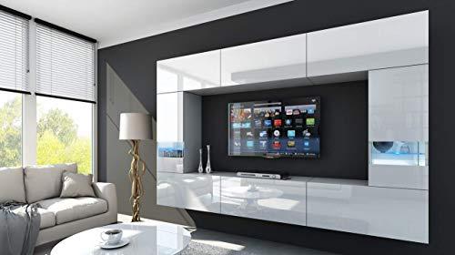 HomeDirectLTD Future 29, Conjunto de Muebles De Salón, Módulo Bajo para TV Y Multimedia, Unidad de Entretenimiento, Mueble TV, Suite a Estrenar (Iluminación RGB LED Opcional) (29_HG_W_2, Azul LED)