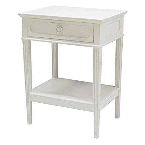 Better Best & 2771022-Table de chevet à tiroir Rectangulaire rayon et blancs cuir lisse Blanc