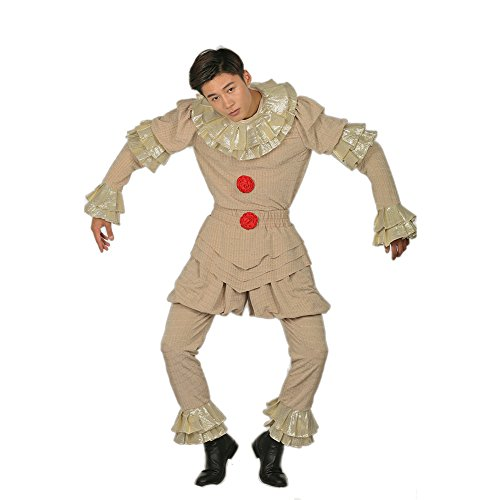 2017 Für Halloween Kostüme Kinder (Halloween Clown Cosplay Kostüm Deluxe Outfit Herren full Suit mit Zubehör für Erwachsene Verrücktes Kleid)