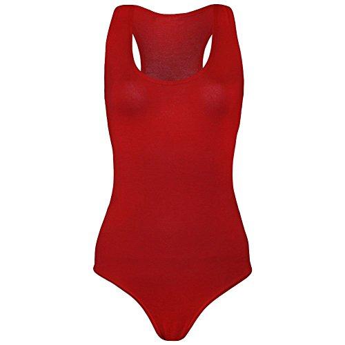 janisramone Femme New musculaire dos nageur sans manches Body stretch justaucorps sans manches pour femme T pour femme Rouge