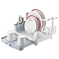 Kingrack Dish Drainer, Dish Rack Stainless Steel, Dish Drying Rack with Extendable Drip Tray, Extra Draining Board, Cutlery Holder, Wine Glass Holder, Double Plate Rack Drainer for Kitchen ukwk112051