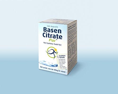 MADENA BasenCitrate Pur Kapseln | 180 Kapseln | Das Original mit 100% organischen Basen | Viel Magnesium als schnelles Citrat, Zink, Kalium, Calcium, plus viel Vitamin D3