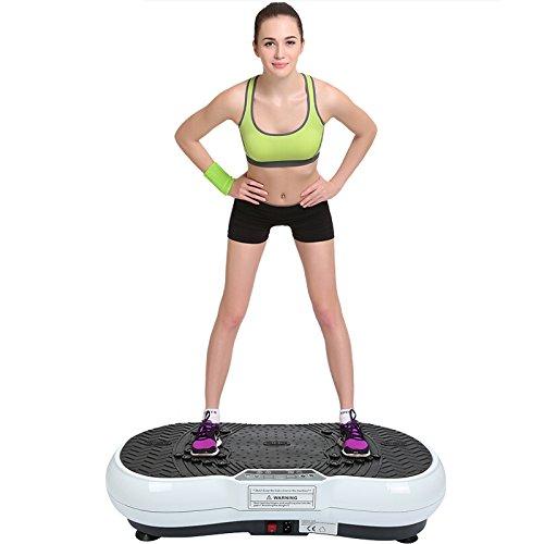 POPSPARKk Profi Vibrationsplatte Fitness vibrationsgerät mit magnetfeldtherapie zugseil Rüttelplatte Rutschsicherer Trainingsfläche LCD Display (weiß, schwarz)