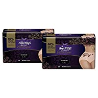 Always Discreet Boutique Incontinence Maximum Protection Underwear for Women, Large, Peach, 18 Count- Pack of 2 (36 Count Total)