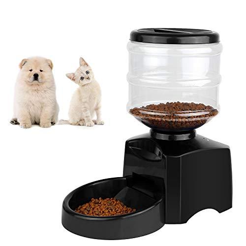 MVPower Automatischer Futterspender für Katze und Hund, Futterautomat Electronic Pet Feeder, Trockenfutter Automat mit Futternapf, LCD-Anzeige und Sprachaufzeichnung, 5.5Liter