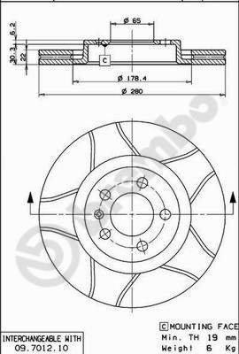 Preisvergleich Produktbild BREMBO 09.7012.75 Bremsscheibe Scheibenbremsen,  Bremsscheiben (x2)