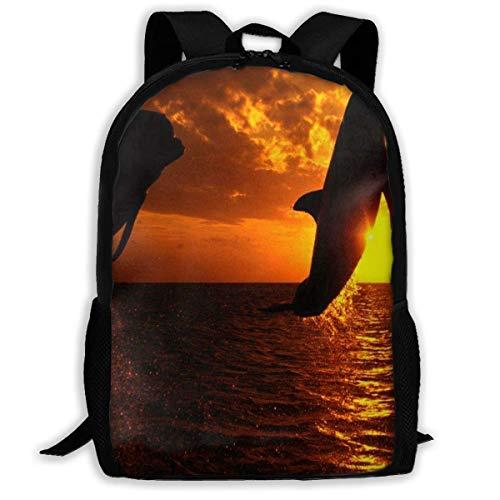 TTmom Schulrucksack,Schüler Bag,Rucksack Damen Herren Backpack Killer Whales Zipper School Bookbag Daypack Travel Rucksack Gym Bag for Man Women