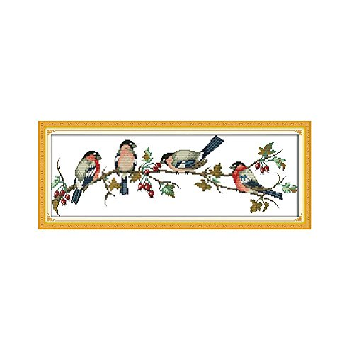 Anself Needlework Embroidery Bullfinches Cross Stitching