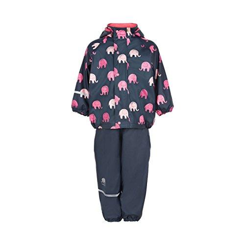 CeLaVi Kinder Mädchen Regenanzug, Gefüttert, Latzhose und Jacke, Alter: ab 12 Monaten, Größe: 80, Farbe: Dunkelblau/Rosa, 310123