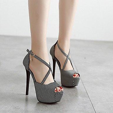 RUGAI-UE Sommer Mode Frauen Sandalen Schuhe Casual PU Komfort Fersen, Rot, Us3.5/EU33/UK1.5/CN32 Black/White