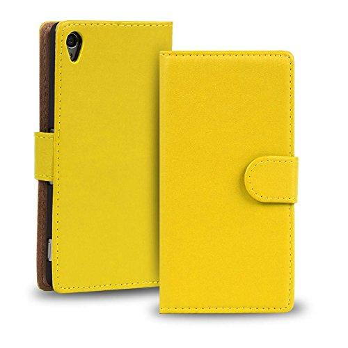 Verco Xperia Z2 Hülle, Handyhülle für Sony Xperia Z2 Tasche PU Leder Flip Case Brieftasche - Gelb