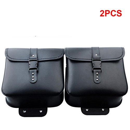 2pcs/set moto borse laterali in pelle pu impermeabile strumento borsa zaino bagaglio sacchetto sport per harley, nero