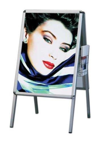 Supporto per poster della linea lusso in alluminio Rondo DIN A1, a due lati (per 2 poster) con cestino per brochure - Lavagna pubblicitaria