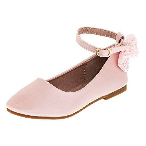Dorémi Festliche Kinder Mädchen Ballerinas Schuhe mit Zierblume M420rs Rosa 26