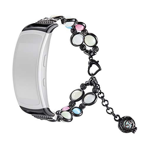 Comie Watch Fashion Damen Armbänder Ersatzband, Edelstahl Metall Straps Luxury Perle Uhrenarmband Wristband Zubehör mit Schmuck für Samsung Gear Fit 2 / Pro (Schwarz)