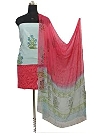 Gleamberry Women's Multicolour (Blue and Pink) Block Print Cotton Dress Material Set