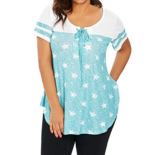 Epig Frauen 5XL Plus Size Star Print T-Shirt Kurzarm lose Bluse Sommer lässig Bandage vorne Oben -