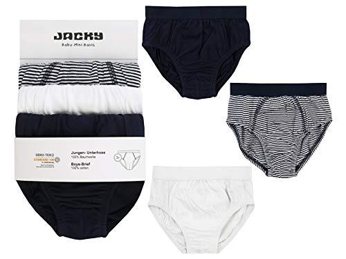 Jacky Jungen Slip Unterhosen, 3er-Pack, Größe: 86/92, Alter: 1-1,5 Jahre, Schwarz/Weiß, 710070