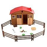 Uzinb 25pcs Farm Cabin Scene Modello Pieghevole Fienile Playset Gates Recinzioni Casa Falsi Props Bambini Che impara i Giocattoli