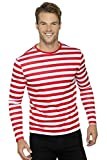 Smiffys Herren Gestreiftes T-Shirt mit langen Armen, Größe: L, Rot und Weiß, 46830