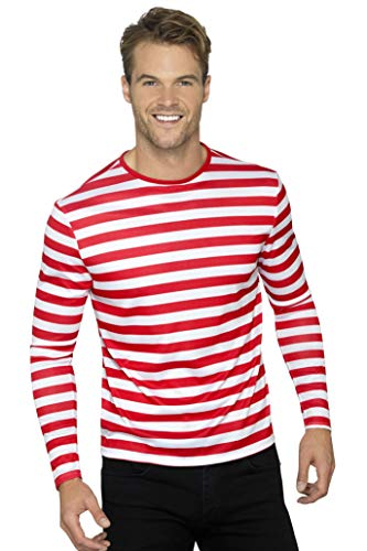 Waldo Shirt Kostüm - Smiffys Herren Gestreiftes T-Shirt mit langen Armen, Größe: L, Rot und Weiß, 46830
