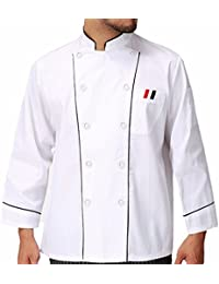 AONER- Chaqueta Chaquetilla de CocineroChef, Ropa Traje de Cocinero, Uniformes de Cocina Hostelería, Color Blanco, Manga Larga