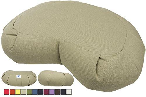 Cuscino zafu da meditazione a mezzaluna CalmingBreath - Grande