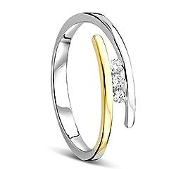 Idea Regalo - Orovi Anello Donna Trilogy con Diamanti taglio brillante Ct 0.08 in oro giallo e in oro Bianco 9 kt 375