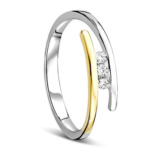 Orovi anello donna trilogy con diamanti taglio brillante ct 0.08 in oro giallo e in oro bianco 9 kt 375