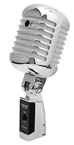 ofon Dynamisches Vintage Gesangsmikrofon Retro Vocal Mikrofon (Frequenzgang: 50-16.000 Hz, Stabiles Druckgussgehäuse) silber ()