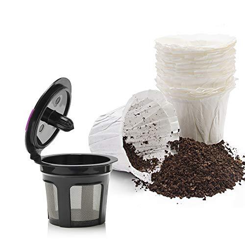MG Kaffee Einweg Keurig Papier Filter für Karaffe, Lebensmittelqualität Einweg Papier Filter mit wiederverwendbar K Cup für Keurig 2.0und 1.0 50 fliters+k cup - Karaffe Filter Keurig