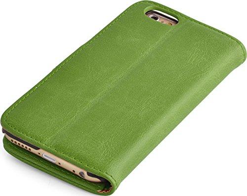 iPhone SE, iPhone 5/5s Lederhülle | JAMMYLIZARD Ledertasche [ Retro Series ] Leder Hülle Flip Case Cover Schutzhülle mit Kartenfach, Grau GRASGRÜN