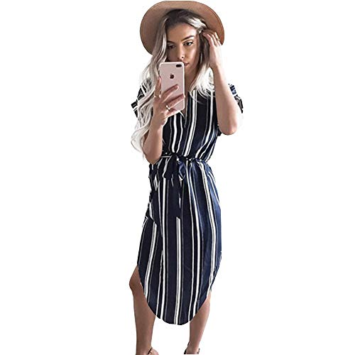 LitBud Damen Kleider Sommer Kurzarm Vintage Business Urlaub Belted Shift Midi Tunika Kleid für Damen Blaue Streifen Größe 36 38 M