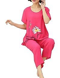 Guiran Mujer Conjunto De Pijama Mangas Cortas Pijamas Dos Piezas Primavera Set Ropa De Dormir XL